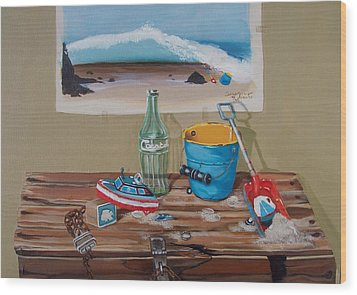 Wood Print featuring the painting Beach Toys by Susan Roberts