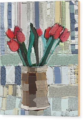 Beach Tulips Wood Print