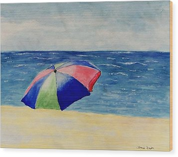 Beach Umbrella Wood Print by Jamie Frier