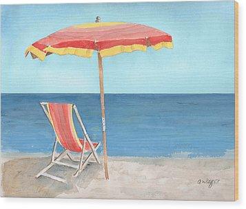 Beach Umbrella Of Stripes Wood Print by Arline Wagner