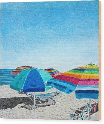 Beach Umbrellas Wood Print by Glenda Zuckerman