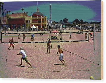 Beach Volleyball Wood Print by Tom Kelly