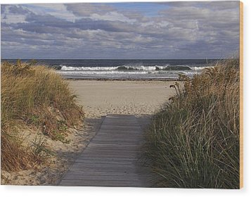 Beach Walk Wood Print by AnnaJanessa PhotoArt