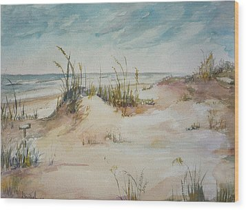 Beach Walk Wood Print by Dorothy Herron