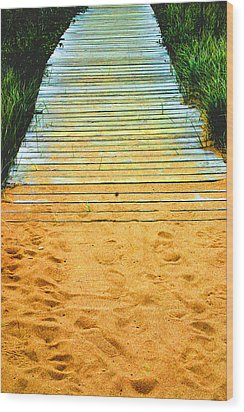 Beach  Walkway Wood Print