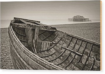Beached At Brighton In Sepia Wood Print by Tony Grider