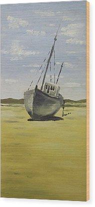 Beached At Bunbeg Wood Print by Alan Hogan