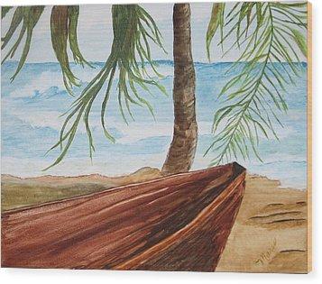 Beached Boat Wood Print by Maris Sherwood