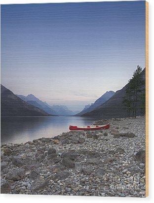 Beached Canoe Awaits Nightfall Wood Print by Royce Howland