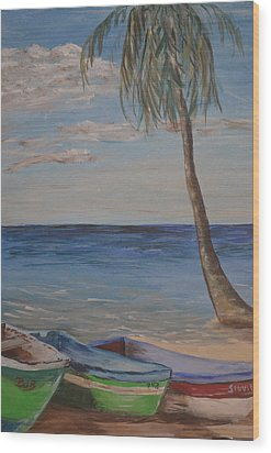 Wood Print featuring the painting Beached by Debbie Baker