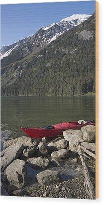 Beached Kayak In Alaska Wood Print