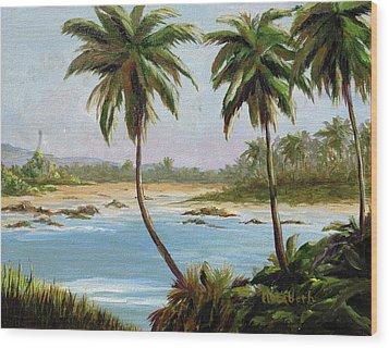 Beachfont Palms Wood Print by Beth Maddox