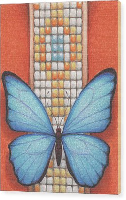 Beaded Morpho Wood Print by Amy S Turner