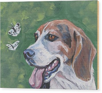 Wood Print featuring the painting Beagle And Butterflies by Lee Ann Shepard