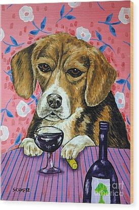 beagle at the Wine Bar Wood Print by Jay  Schmetz