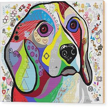Beagle Wood Print by Eloise Schneider