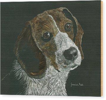 Beagle Portrait Wood Print by Jessica Kale