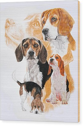 Beagle W/ghost Wood Print by Barbara Keith