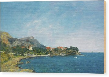 Wood Print featuring the painting Bealieu - The Bay Of Fourmis by Eugene Boudin