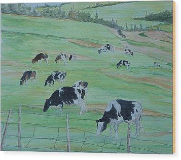 Beanie's Cows Wood Print by Joel Deutsch