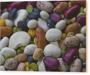 Beans Of Many Colors Wood Print
