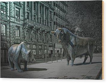 bear and bull Frankfurt Wood Print by Joachim G Pinkawa