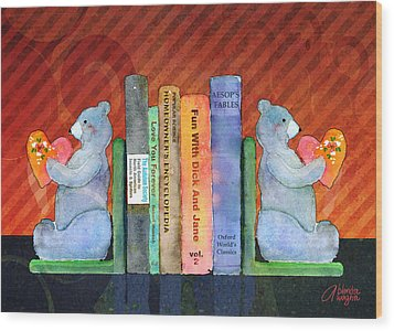 Bear Bookends Wood Print by Arline Wagner