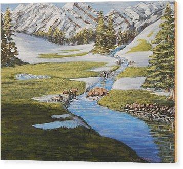 Bear Crossing Wood Print by Ruanna Sion Shadd a'Dann'l Yoder