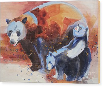 Bear Family Outing Wood Print by Kathy Braud