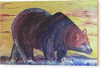 Bear Hot Summer  Wood Print