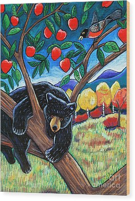 Bear In The Apple Tree Wood Print by Harriet Peck Taylor