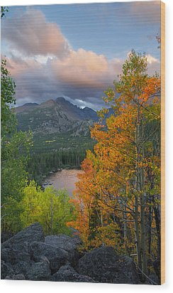 Wood Print featuring the photograph Bear Lake Autumn by Aaron Spong