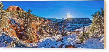 Wood Print featuring the photograph Bear Mountain Winter 1 by ABeautifulSky Photography