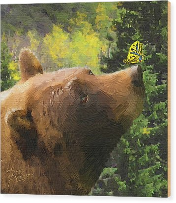 Bear - N - Butterfly Effect Wood Print by Doug Kreuger