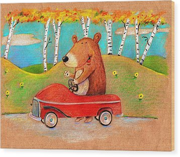 Bear Out For A Drive Wood Print by Scott Nelson