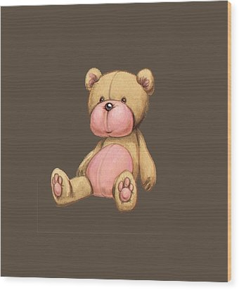 Bear Pink Wood Print by Andy Catling