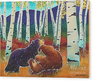 Bear Play Wood Print by Harriet Peck Taylor