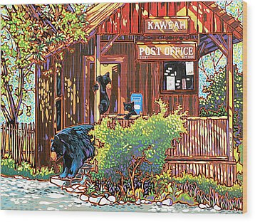 Bear Post Wood Print