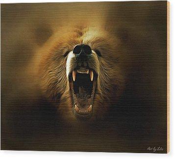 Bear Roar Wood Print by Lilia D
