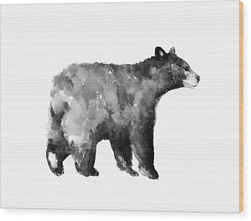 Bear Watercolor Drawing Poster Wood Print