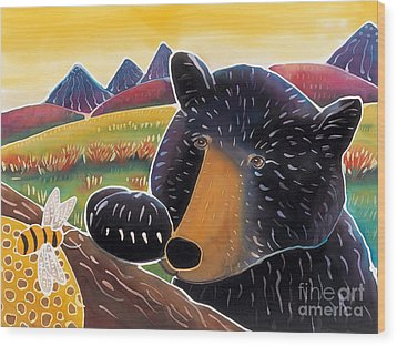 Bear With A Sweet Tooth Wood Print by Harriet Peck Taylor