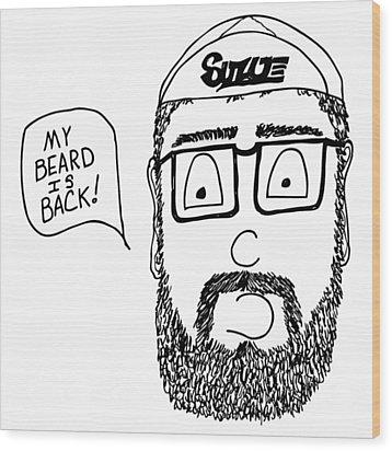 Beard Comic Wood Print by Karl Addison