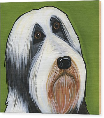 Bearded Collie Wood Print by Leanne Wilkes