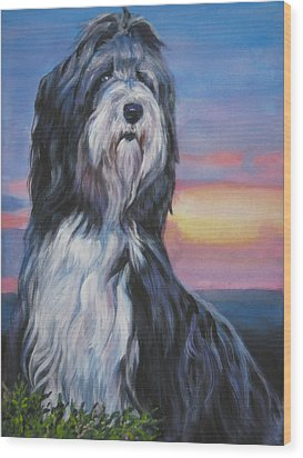 Bearded Collie Sunset Wood Print by Lee Ann Shepard