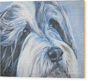Bearded Collie Up Close In Snow Wood Print by Lee Ann Shepard