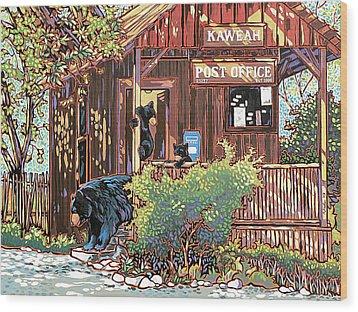 Bears At The Kaweah Post Wood Print