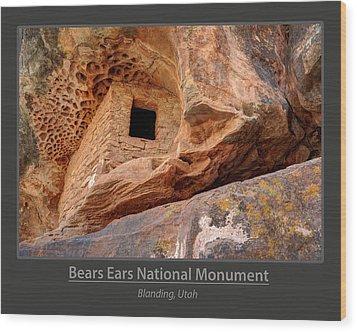 Bears Ears National Monument - Anasazi Ruin Wood Print by Gary Whitton
