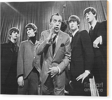 Beatles And Ed Sullivan Wood Print by Granger