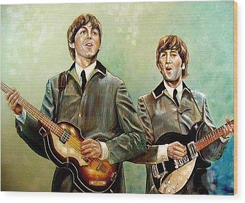 Beatles Paul And John Wood Print by Leland Castro