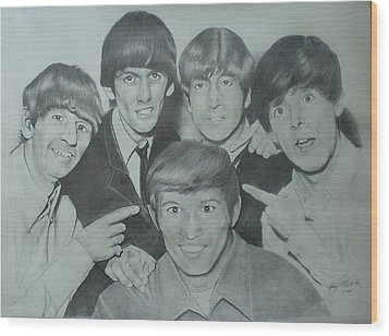 Beatles With A New Friend Wood Print by Randy McFall